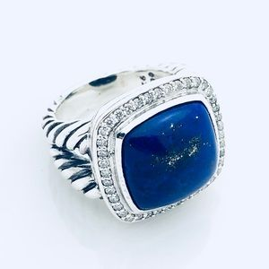 David Yurman Albion Ring w Lapis Lazuli + Diamonds